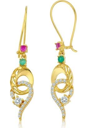 Label Jewelry Renkli Taşlı 22 Ayar Altın Sarkaç Küpe