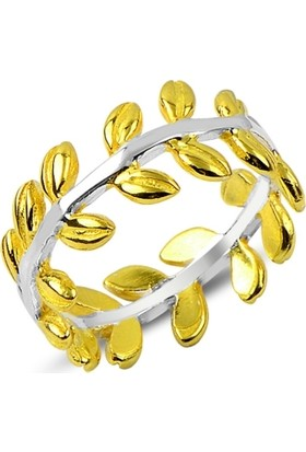 Tevuli Gümüş 925 Ayar Altın Kaplamalı Defne Yaprağı Yüzük