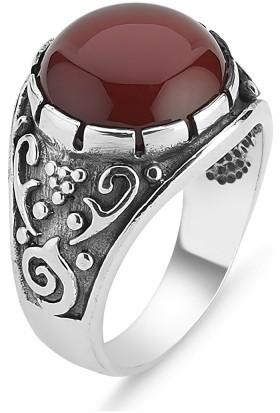 Tevuli Gümüş 925 Ayar Kilim Desenli Yuvarlak Akik Taşlı Erkek Yüzüğü