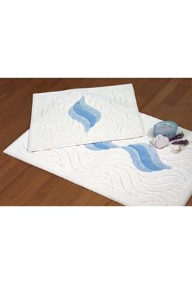 Zeria Home Pamuklu Banyo Paspası & Pamuklu Klozet Takımı 2 li Set Dalga Desen Bebe Mavi