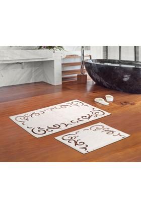 Zeria Home Banyo Paspası - Banyo Seti -Pamuklu 2Li Banyo Halısı Zeria Home Beyşehir Kahve Renk