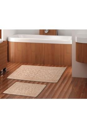 Zeria Home Pamuklu Banyo Paspas Takımı 2'li Set Hasankeyf Bej Renk