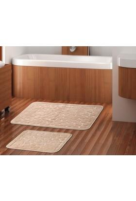 Zeria Home Pamuklu Banyo Paspas Takımı 2Li Set -Banyo Paspsı Taş Desen Bej
