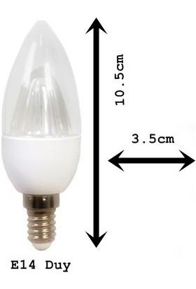 E14 Duy 2 Watt Şeffaf Led Ampul 6400K Beyaz Işık