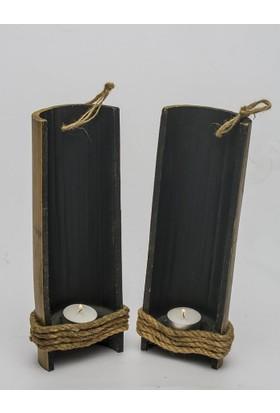 Bambu Mumluk 2 li Doğal Şamdan Estetik Tasarım