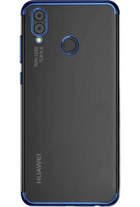 DVR Huawei P20 Lite Kılıf Silikon Dört Köşeli Lazer Kapak (Mavi) + Cam Ekran Koruyucu