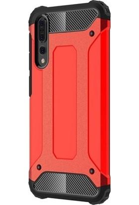 DVR Huawei P20 Pro Kılıf Çift Katmanlı Tank Kapak Crash (Kırmızı) + Cam Ekran Koruyucu