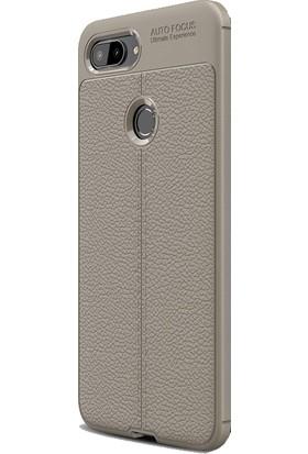 DVR Xiaomi Mi 8 Lite Kılıf Silikon Özel Karbon Niss Deri Görünümlü (Füme) + Cam Ekran Koruyucu