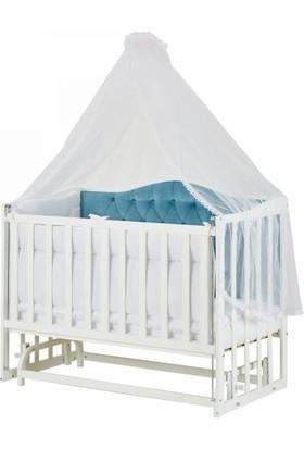 Baby Tech Anne Yanı Royal Ahşap Beşik Beyaz Mavi Başlıklı 60 x 120 cm