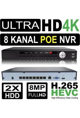 Nvr Kayıt Cihazı 4K 8 Kanal 2 Hdd Poe Li H.265/H.264