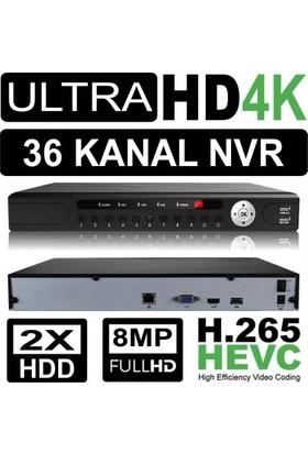 Nvr Kayıt Cihazı 4K 36 Kanal 2 Hdd H.265/H.264