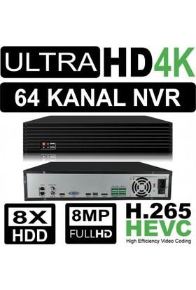 Nvr Kayıt Cihazı 4K 64 Kanal 8 Hdd H.265/H.264