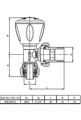 Eca Rv3 Köşe Radyatör Vanası Pex 1/2 X 16 Mm