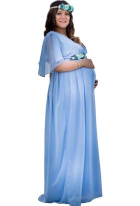 738001faf8f5a Moda Labio Babyshower Melek Kol Bebe Mavi Hamile Elbisesi ...
