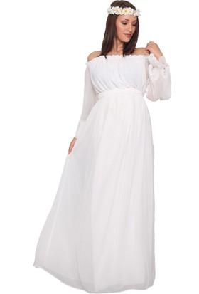 3e3ac5489cfce Moda Labio Babyshower Dökümlü Beyaz Hamile Elbisesi ...