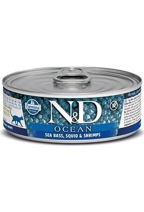 N&D Ocean Tahılsız Levrek Mürekkep ve Karidesli Kedi Konservesi 80 gr