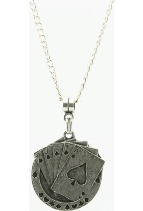 Labalaba Erkek Antik Gümüş Kaplama İskambil Destesi Kolye