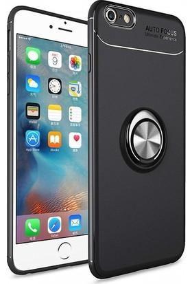 Alaca iPhone 6/6S Kılıf Standlı Yüzüklü Mıknatıslı Kılıf Siyah