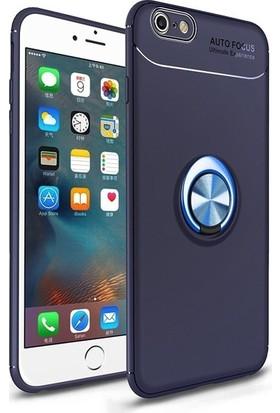 Alaca iPhone 6/6S Kılıf Standlı Yüzüklü Mıknatıslı Kılıf Lacivert