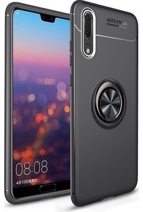 Alaca Huawei P20 Pro Kılıf Standlı Yüzüklü Mıknatıslı Kılıf Siyah