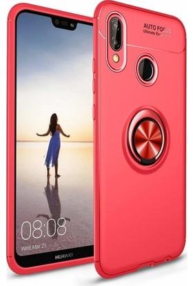Alaca Huawei P20 Lite Kılıf Standlı Yüzüklü Mıknatıslı Kılıf Kırmızı