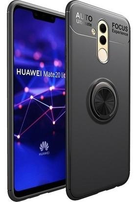 Alaca Huawei Mate 10 Lite Kılıf Standlı Yüzüklü Mıknatıslı Kılıf + 9H Esnek Nano Cam Siyah