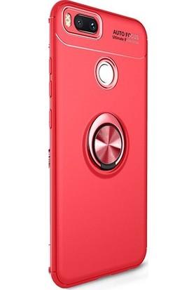 Alaca Xiaomi Mi A1 / 5X Kılıf Standlı Yüzüklü Mıknatıslı Kılıf Kırmızı