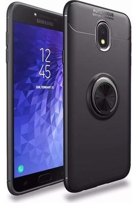 Alaca Samsung Galaxy J7 Pro J730 Kılıf Standlı Yüzüklü Mıknatıslı Kılıf Siyah