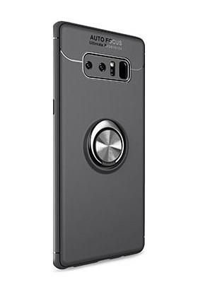 Alaca Samsung Galaxy Note 8 Kılıf Standlı Yüzüklü Mıknatıslı Kılıf Siyah