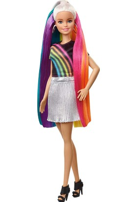 Barbie Gökkuşağı Renkli Saçlar Bebeği FXN96