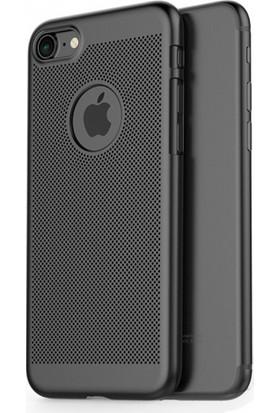 RedClick Apple iPhone 7 Arkası Delikli Rubber İnce Kılıf - Siyah