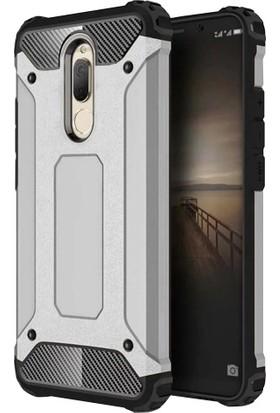 RedClick Huawei Mate 10 Lite Kılıf Zırhlı Tam Koruma Silikon Tank Zırhlı Arka Kapak - Gümüş