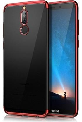 RedClick Huawei Mate 10 Lite Ultra Slim Şeffaf Dört Köşe Lazer Silikon Kılıf - Kırmızı