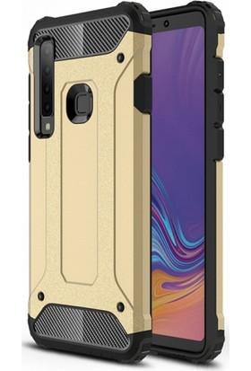 RedClick Samsung Galaxy A9 2018 Kılıf Zırhlı Tam Koruma Silikon Tank Zırhlı Arka Kapak - Gold