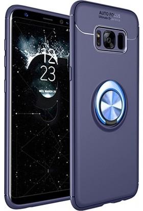 RedClick Samsung Galaxy S8 Plus Silikon Kılıf Royben Yüzüklü Manyetik Standlı Kapak - Mavi