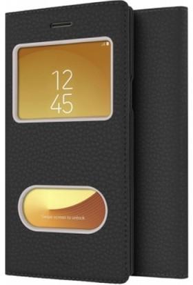 Aksesuarkolic Samsung Galaxy J7 Pro Kılıf Kapaklı Pencereli Gizli Mıknatıslı Dolce