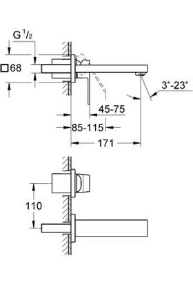 Grohe Eurocube İki Delikli Duvardan Lavabo Bataryası - 19895000