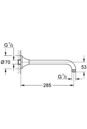 Grohe Rainshower® Grandera™ Tepe Duşu Dirseği 285 mm - 27986000
