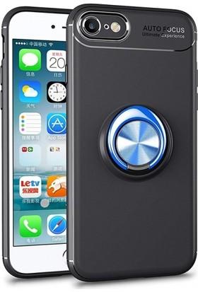 Elite Apple iPhone 6S / 6 Silikon Kılıf Royben Yüzüklü Manyetik Standlı Kapak - Mavi - Siyah