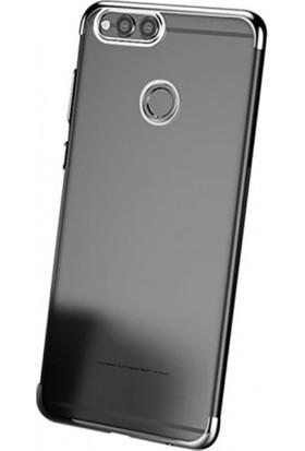 Elite Huawei Y7 Prime 2018 Ultra Slim Şeffaf Dört Köşe Lazer Silikon Kılıf - Gri