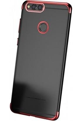 Elite Huawei Y7 Prime 2018 Ultra Slim Şeffaf Dört Köşe Lazer Silikon Kılıf - Kırmızı