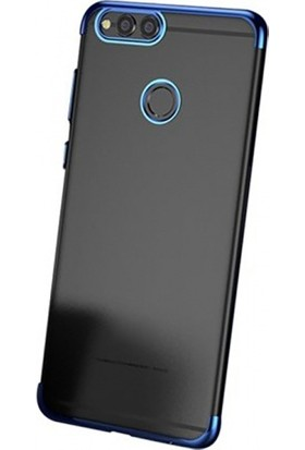 Elite Huawei Y7 Prime 2018 Ultra Slim Şeffaf Dört Köşe Lazer Silikon Kılıf - Mavi