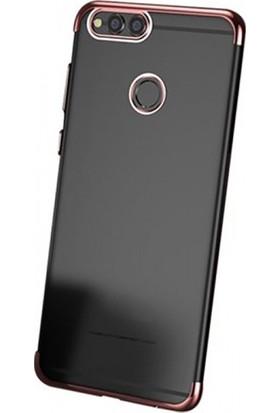 Elite Huawei Y7 Prime 2018 Ultra Slim Şeffaf Dört Köşe Lazer Silikon Kılıf - Rose Gold