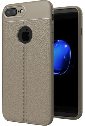 Telefonaksesuarı Apple iPhone 7 Plus Kılıf Suni Deri Tam Koruma Ares Silikon Kapak