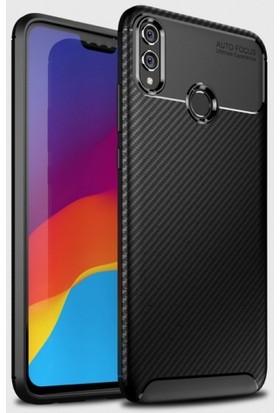 Telefonaksesuarı Huawei Honor 8x Kılıf Esnek Karbon Görünümlü Royal Silikon Kapak