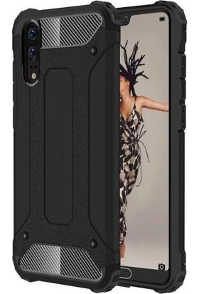 Telefonaksesuarı Huawei P20 Kılıf Zırhlı Tam Koruma Silikon Zırhlı Armor Arka Kapak