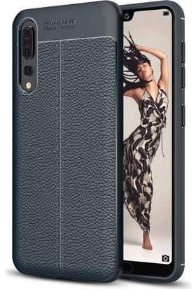 Telefonaksesuarı Huawei P20 Pro Kılıf Suni Deri Tam Koruma Ares Silikon Kapak