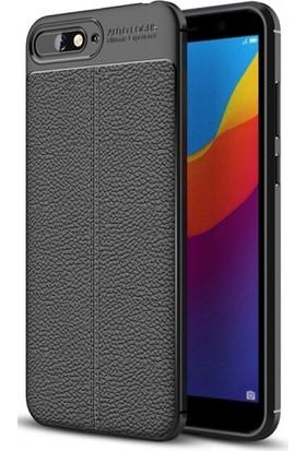 Telefonaksesuarı Huawei Y6 2018 Kılıf Suni Deri Tam Koruma Ares Silikon Kapak