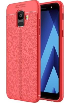 Telefonaksesuarı Samsung Galaxy A6 2018 Kılıf Suni Deri Tam Koruma Ares Silikon Kapak