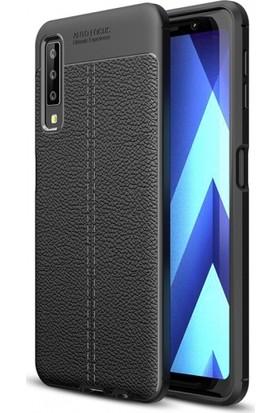 Telefonaksesuarı Samsung Galaxy A7 2018 Kılıf Suni Deri Tam Koruma Ares Silikon Kapak